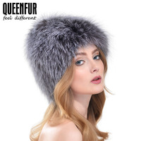QUEENFUR Good Quality Real Silver Fox Fur Hat For Women Winter Warm Knitted Beanies 2016 New Style Fashion Real Fox Fur Cap