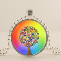"Rainbow 1"" Tree and flower glass and metal Pendant necklace Jewelry."