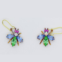Czech Glass Rhinestone Fly Earrings, Green and Lavender