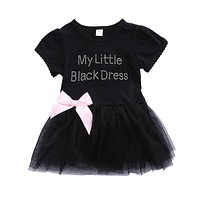 2017 Cute Newborn Baby Girls Lace Dress My Little Black Dress Letter Printed Princess Girl TUTU Party Dresses Clothes