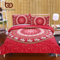 BeddingOutlet Red Mandala Bedding Set Home Elephant Messenger Indian Bed Linen Soft Fabric Moroccan Bedclothes 2Pcs or 3Pcs Real