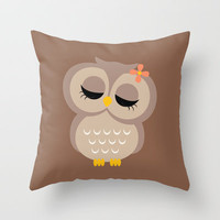 Owl Throw Pillow by heartlocked