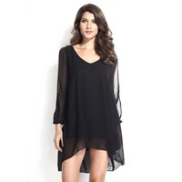 Summer Long Sleeve See Through Chiffon Women's Fashion One Piece Dress [6050476289]