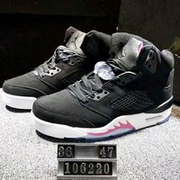 NIKE Air Jordan 5 Women Men Fashion Casual Running Sport Shoes Sneakers Black G-XYXY-FTQ