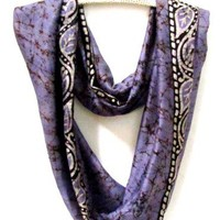 Silk sari or saree infinity loop scarf in lavender and black batik