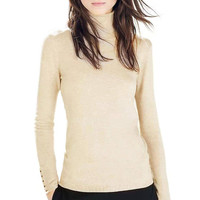Beige High Neck Knitted Top