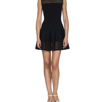 Fendi Lace-Effect Sleeveless Fit-and-Flare Dress, Black