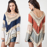Women Blouses Multicolor Lace Crochet Kimono Blouse Plus Size Shirt Tops