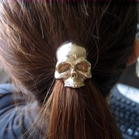 Solid Bronze Human Skull Pony tail Holder Hair Tie / Necklace - Moon Raven Designs 052