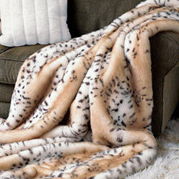 Snow Leopard Faux Fur Limited Edition Throw Blankets   Fabulous-Furs