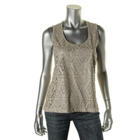 INC Womens Petites Faux Leather Trim Perforated Pullover Top