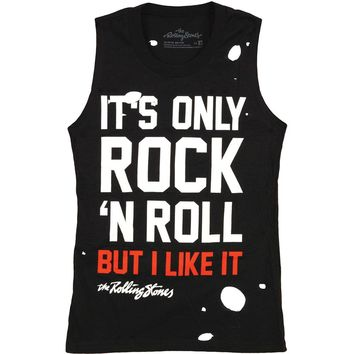 Rolling Stones Women's  It's Only Rock And Roll Destroyed Womens Tank Black