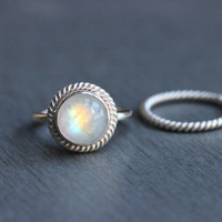 Rainbow Moonstone ring  - Stack rings - Gemstone ring - Round ring - Artisan ring - Silver ring - Gift for her