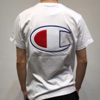 Champion Back big letter print and bust small letter print embroidery short sleeve round neck couples T-shirt  top White