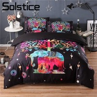 Solstice Home Textile Abstract Cartoon Elephant Tree Fashion Sedate Duvet Cover Pillowcase Bedding Set King Queen Twin Full Size