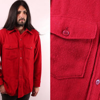 Vintage Red Wool Flannel Mens Button Up Work Shirt Jacket