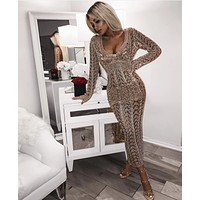 Eve Gold Metal Crochet Dress