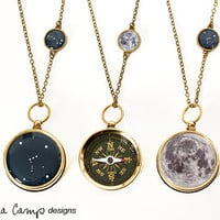 Moon and Stars Large Working Compass and Charm Necklace - Choose Your Constellation, Birthday, Custom Zodiac Jewelry