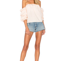 L'Academie x REVOLVE The Puff Sleeve Blouse in Peach | REVOLVE