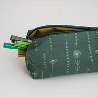 Pencil Zipper Case - Exclusive Own Illustrated Fabric Design - Back To School - Field of Flowers