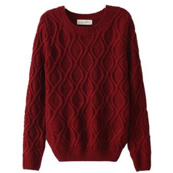 Womens Diamond Crew Neck Sweater, Small, Burgundy