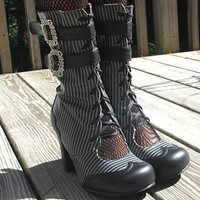 STEAMPUNK Pinstripe Neo-Victorian Open Ghillie GRANNY Boots Lace & Buckle