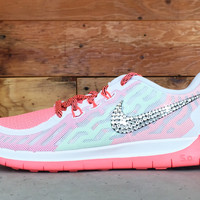 Nike Free Run 5.0 Youth Glitter Kicks Running Shoes White/Coral