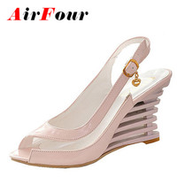 Airfour Wedges Heel Sandals Buckle Style Open Toe Shoes Transparent Women Summer Shoes Patent PU Sexy Summer Brand Shoes Woman