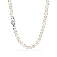 """David Yurman - 8MM-8.5MM Freshwater White Pearl, Diamond & Sterling Silver Buckle Strand Necklace/72"""" - Saks Fifth Avenue Mobile"""