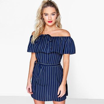 Ruffle Denim Stripes Print One Piece Dress [6313104964]