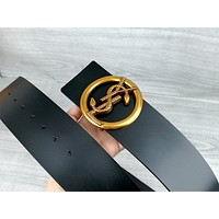 YSL 2019 new female models personality wild retro smooth buckle belt Black