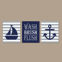 Kids Nautical Bathroom Decor Wash Brush Flush Wall Art Nickel Gray Navy Sailboat Anchor Bathroom Rules Set of 3 Prints Boy Bathroom Art