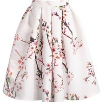 Sheinside Women's Floral Pleated Skirt