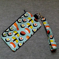 Yummy Sushi Lanyard Pouch with optional matching Lanyard Kawaii Food Sashimi