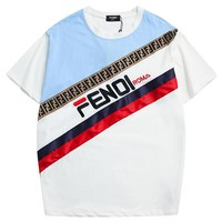 Fendi 2019-New color matching double F oblique printing men and women round neck shirt #4