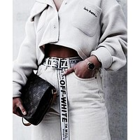 OFF-WHITE Tide brand men's and women's simple and versatile belt silver