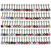 Sunshinesmile 30 PCS Mixed 316 Surgical Steel Metal Tongue Nipple Bar Ring Barbell Body Piercing Jewelry