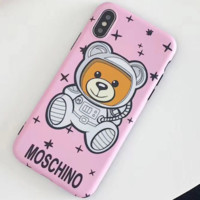 Moschino new star astronaut Teddy bear iPhone X mobile phone case cover pink