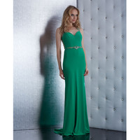 Green Breathtaking Beaded Sheer Back Dress