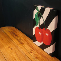 Cherry oil painting red black white stripes green leaves punky emo rockabilly  fun 8x11 painting treasury dorm bedroom teenager varnished