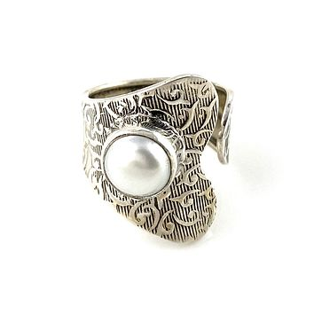 Pearl Sterling Silver Adjustable Wrap Ring