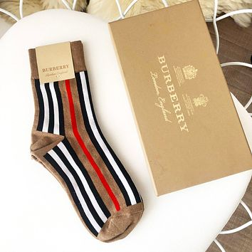 BURBERRY Fashion Women Luxury Stripe Socks