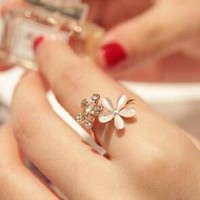 Shiny Gift Jewelry Stylish New Arrival Korean Cats Floral Rhinestone Adjustable Ring [6586078471]