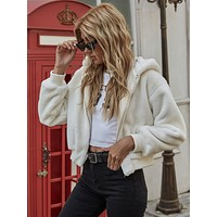 Solid Zip Up Faux Fur Coat