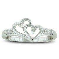 Double Heart Diamond Promise Ring, Availabe Ring Sizes 4-10, Ring Size 4