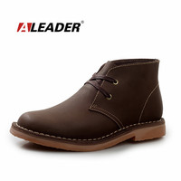 Aleader Waterproof Men's Spring Crazy Horse Leather Boots New 2015 Mens Martin Boots Shoes Fashion Ankle Boots Bota Masculino
