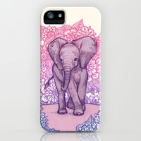 Cute Baby Elephant in pink, purple & blue iPhone & iPod Case by micklyn