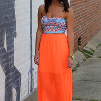Neon Aztec Tube Dress {Coral}