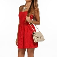 Red Strapless Lace Dress