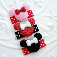 GLITTER Mickey Minnie Mouse Baby Hair Clips / Newborn Hair Clips / Itty Bitty Disney Baby Bow Clips / Toddler Girls U Pick The Color n Size
